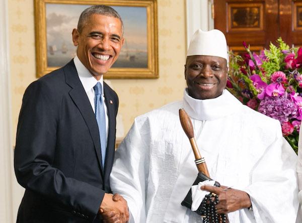 Barack Obama (left) and Yahya A.J.J. Jammeh - Credit: Amanda Lucidon/White House