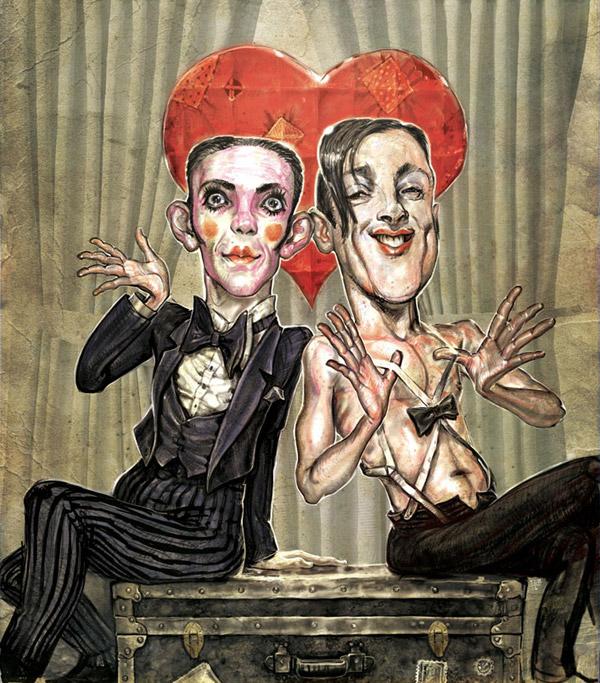 Joel Grey and Alan Cumming - Illustration: Scott G. Brooks