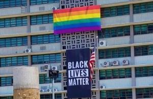 seoul embassy, pride, rainbow, flag