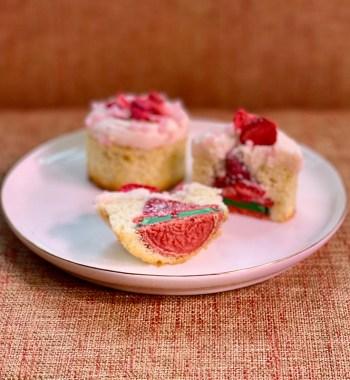 Strawberry Cupcakes sliced