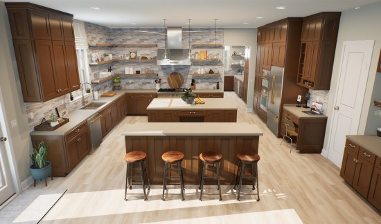 kitchen with stools