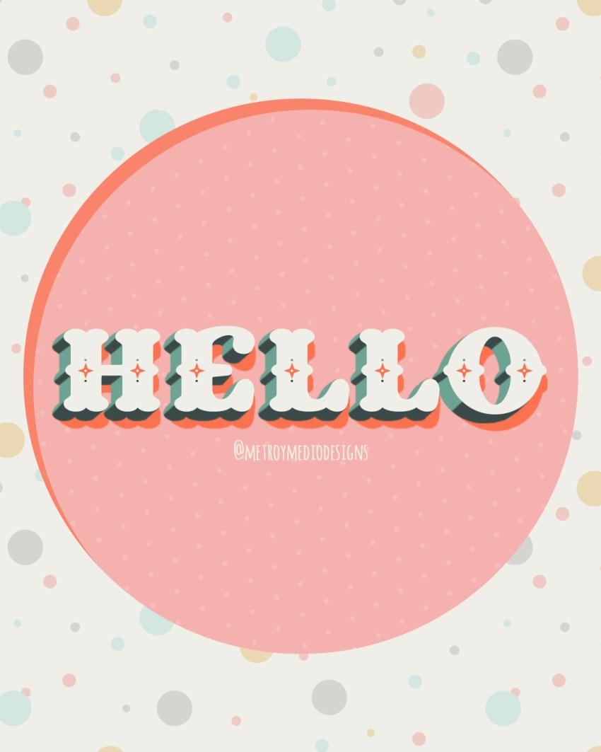 Lettering de la palabra Hello con letras de estilo circense en paleta de colores suaves y aire retro