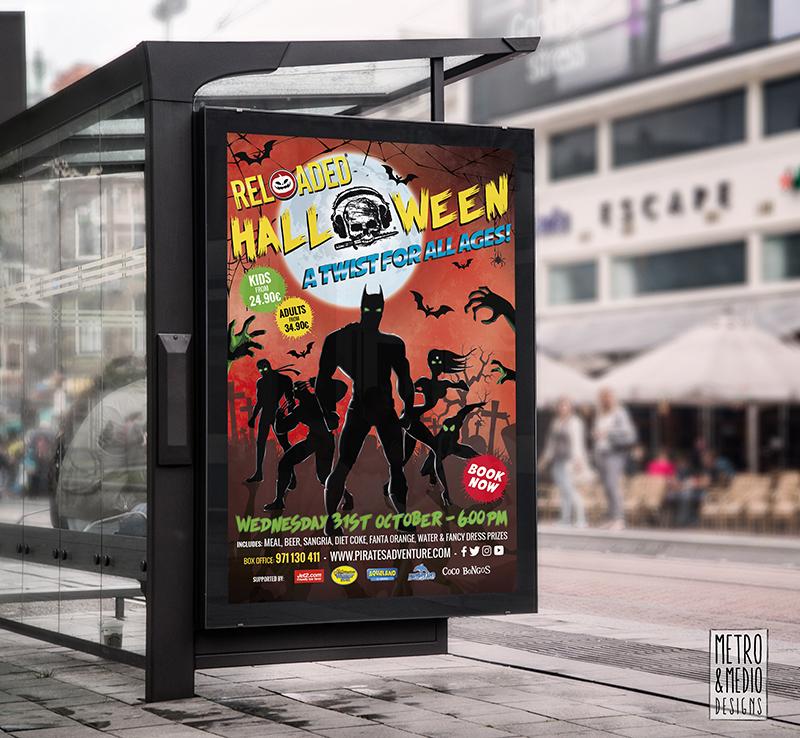 Opi para fiesta de Halloween de Pirates Reloaded en Magaluf con superhéroes con fondo de cementerio