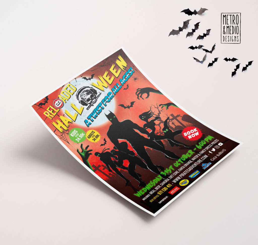 Flyer para fiesta de Halloween de Pirates Reloaded en Magaluf con superhéroes con fondo de cementerio