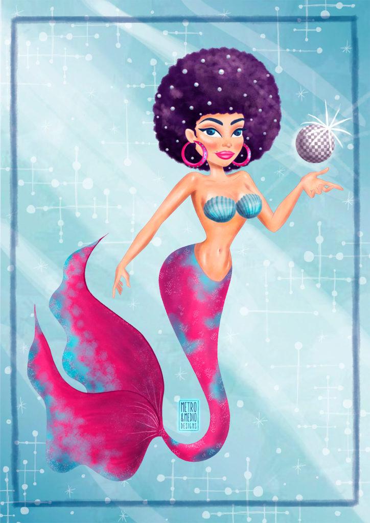 Ilustración digital para el #mermay2019 de sirena con pelo afro y bola disco en el fondo del mar