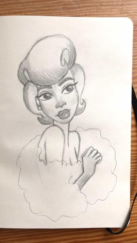 Boceto a lápiz de chica glamurosa. Pelo cardado y envuelta en una boa de plumas
