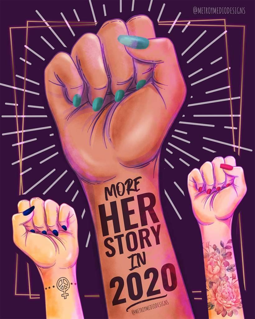 Felicitación de Año Nuevo 2020 diseñada por Metro&medio Designs. Puños de mujeres reivindicando la lucha feminista. Texto: More HERstory in 2020