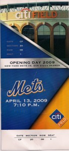 2009 Mets fake opening day ticket