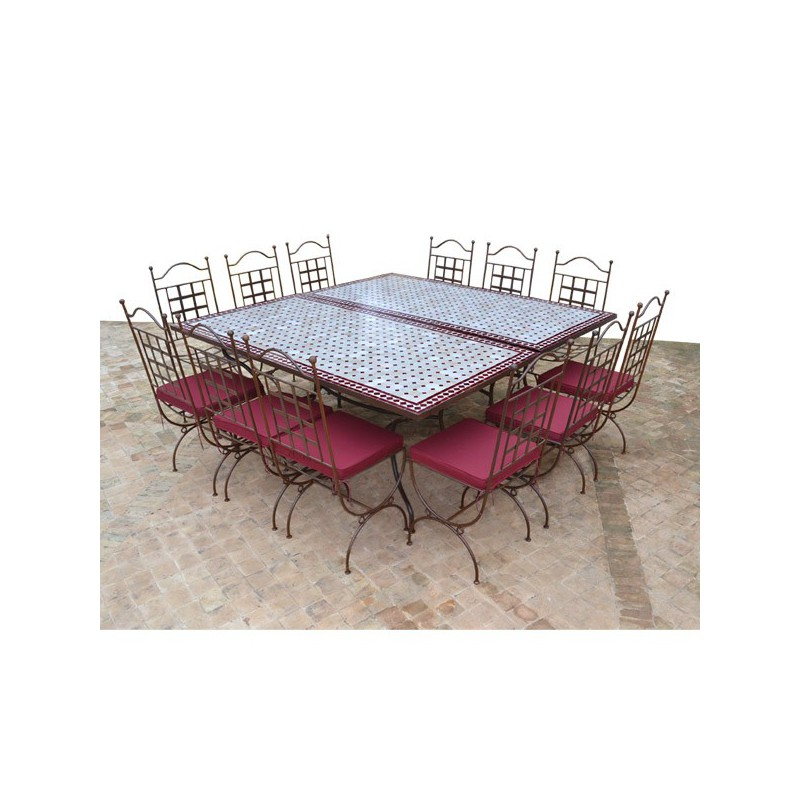 table en zellige carree 180 180 2 table rect 180 90 12 chaises provence 12 coussins