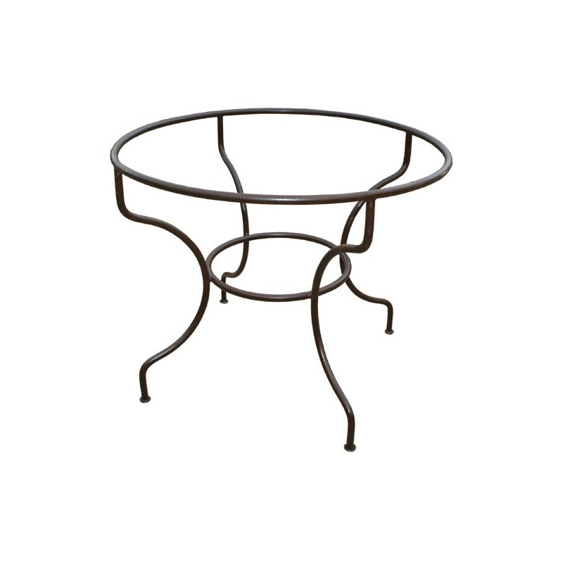 pied table fer forge rond simple fer plein