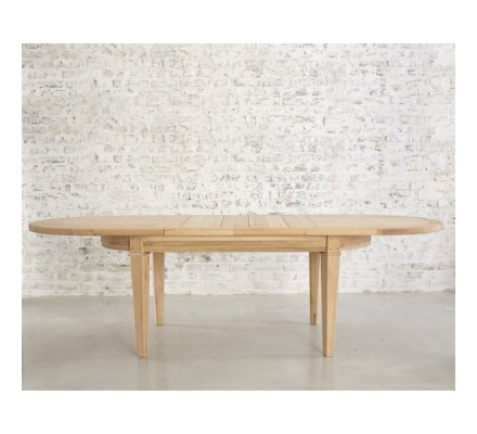 table ovale en chene massif avec allonges artisan