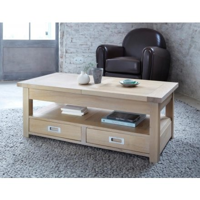 table basse rectangulaire chene massif avec allonge bella