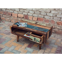 table basse bois recycle avec tiroir eben