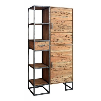 bibliotheque 97 cm metal et bois massif design