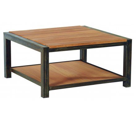 table basse carre metal et chene massif manufacture