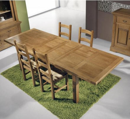 table rectangulaire 100 chene massif bianca 200cm ou 220cm allonges