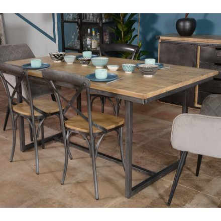 table plateau bois 180cm pieds metal caractere