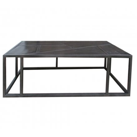 table basse noire industrielle rectangulaire 130 cm caractere