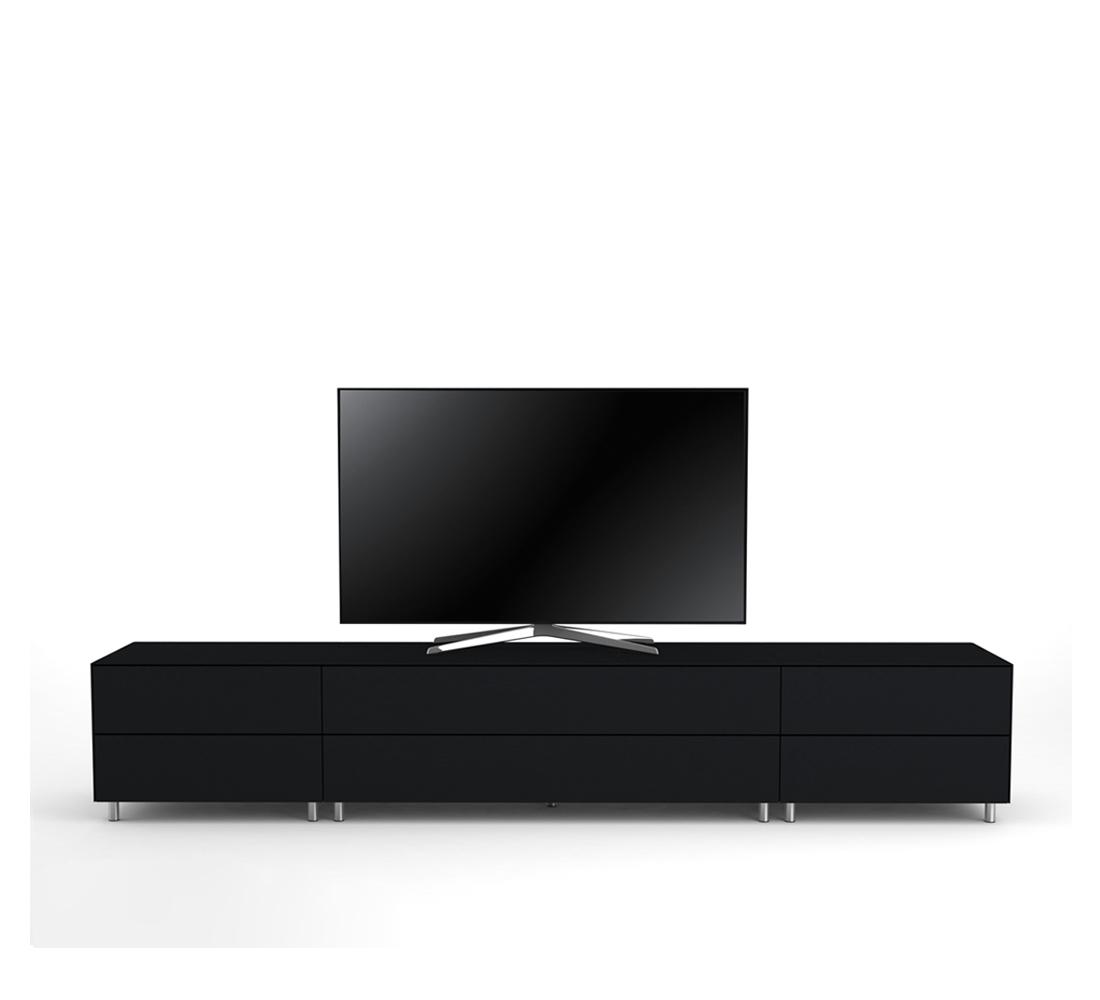 meuble tv design 260 cm epure salon k1 verre noir mat satine
