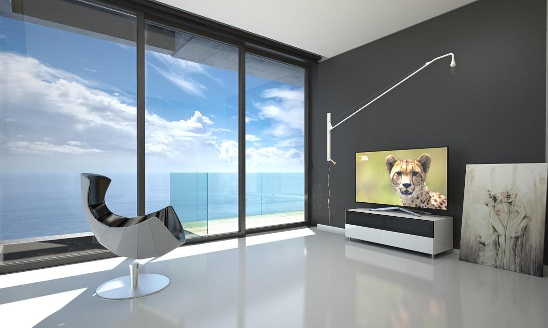 meuble tv design 130 cm epure single sound l verre noir mat satine