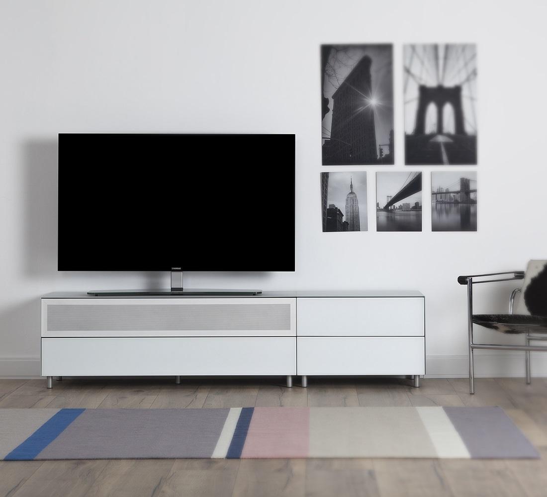 meuble tv design 195 cm epure loft sound k1 verre blanc mat satine special