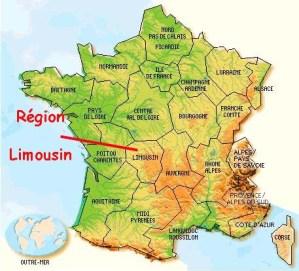 Limoges sur carte de France