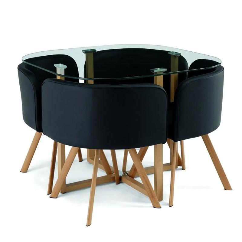 ensemble table 4 chaises encastrable popup