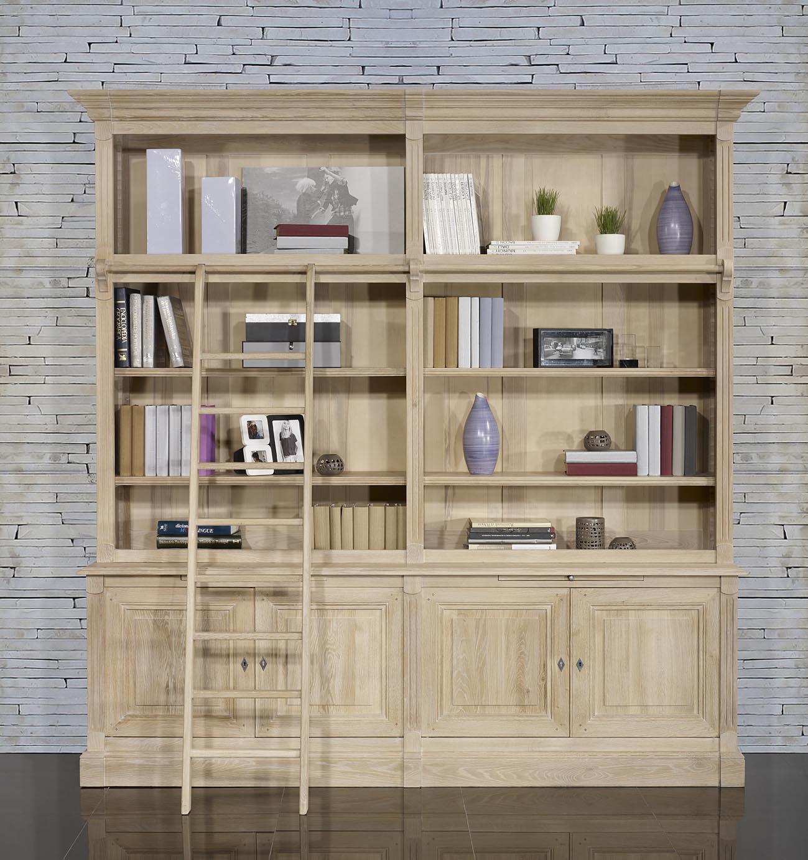 bibliotheque 2 corps 4 portes en chene massif de style directoire avec echelle meuble en chene massif