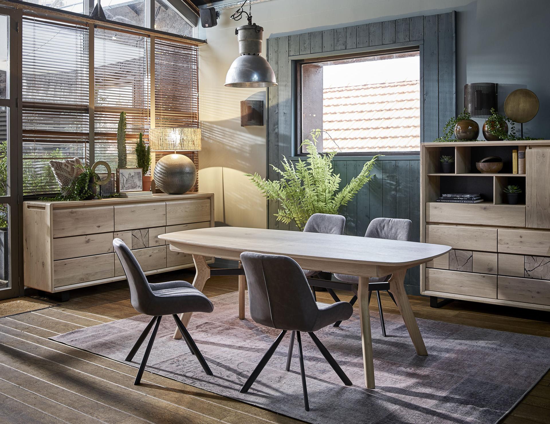 salle a manger avec table en chene massif ateliers de langres eden bois deco