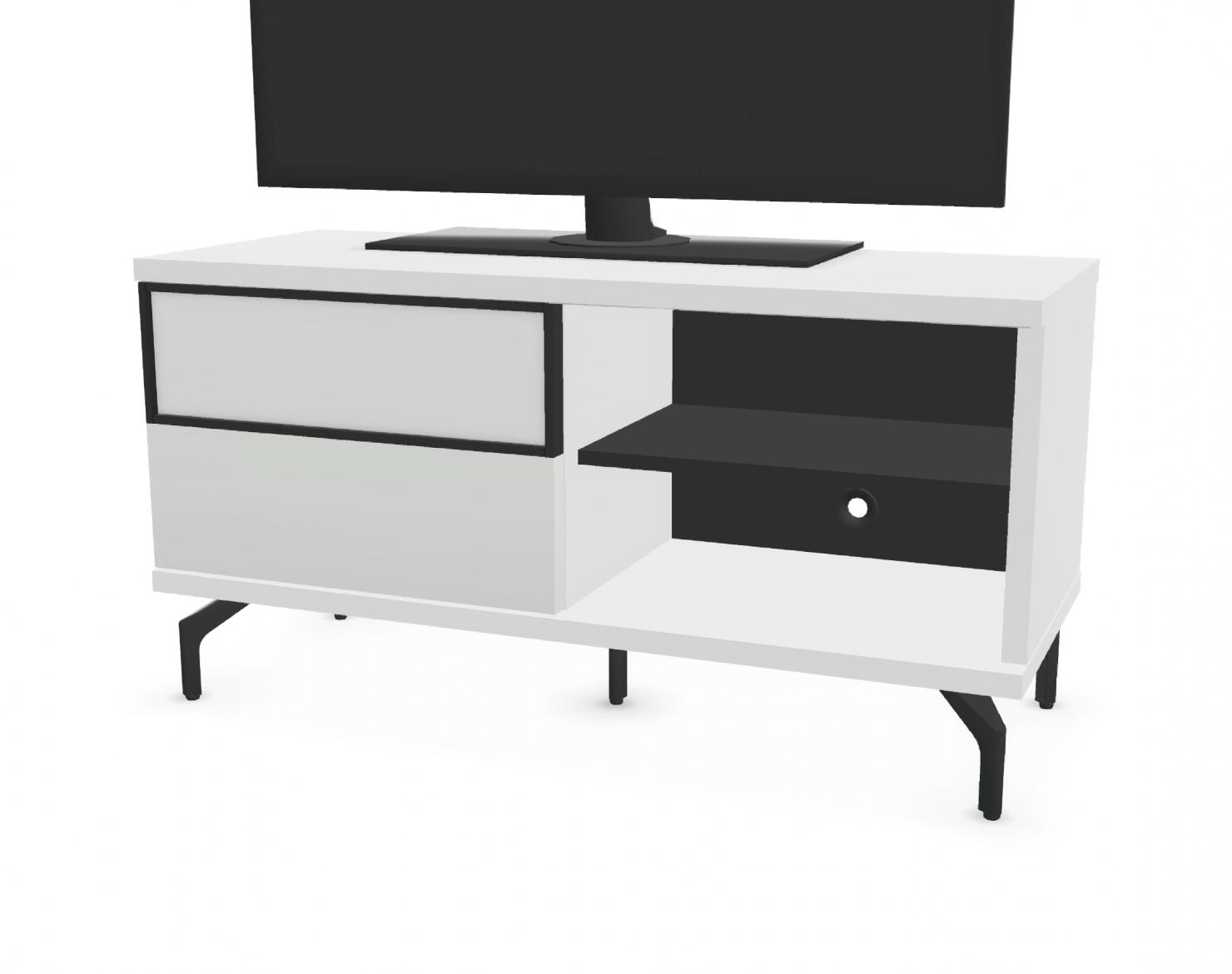 meuble tv 1 porte coulissante 2 niches facade bois