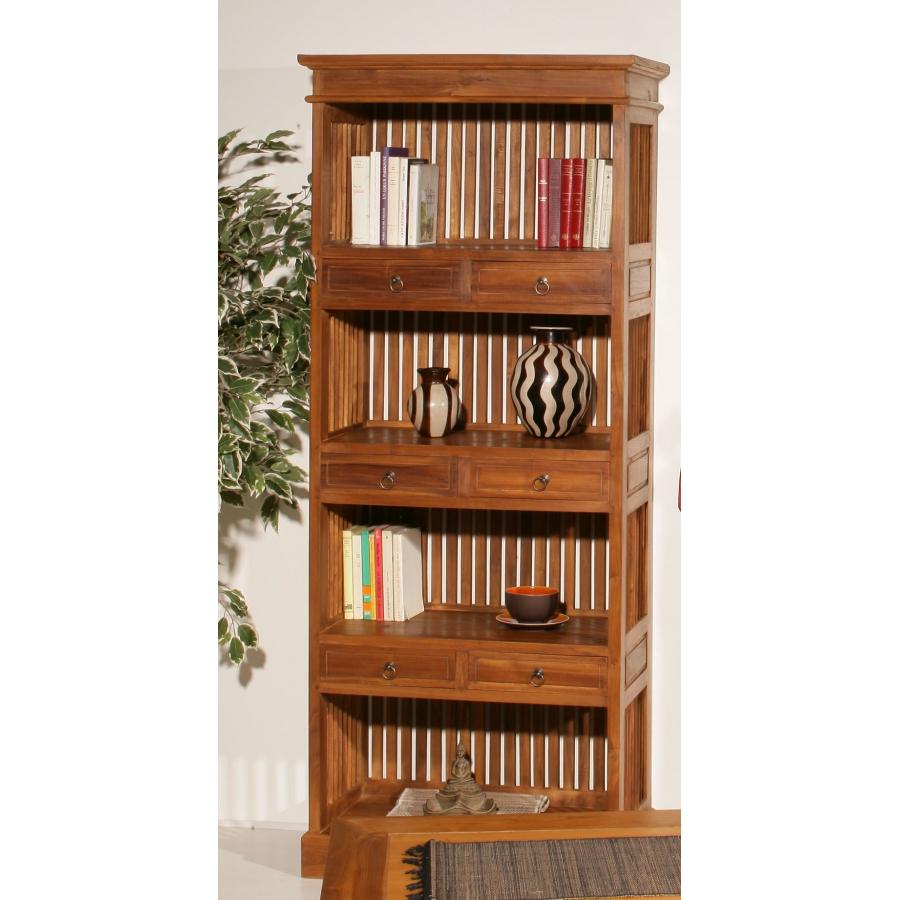 etagere bibliotheque 6 tiroirs bois teck