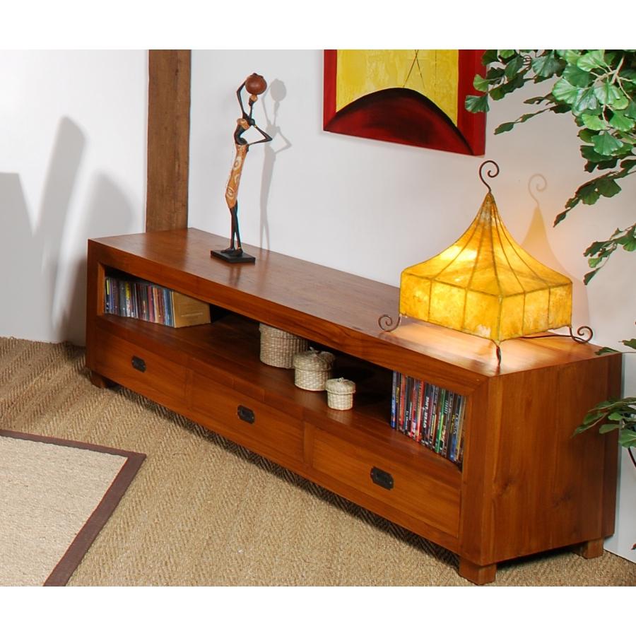 meuble tv 3 tiroirs gm bois teck
