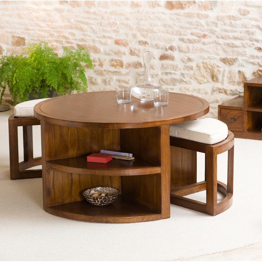 Table Basse Ronde 2 Tabourets Avec Coussins Meubles
