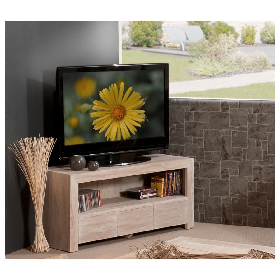 meuble tv bois teck 3 tiroirs pm