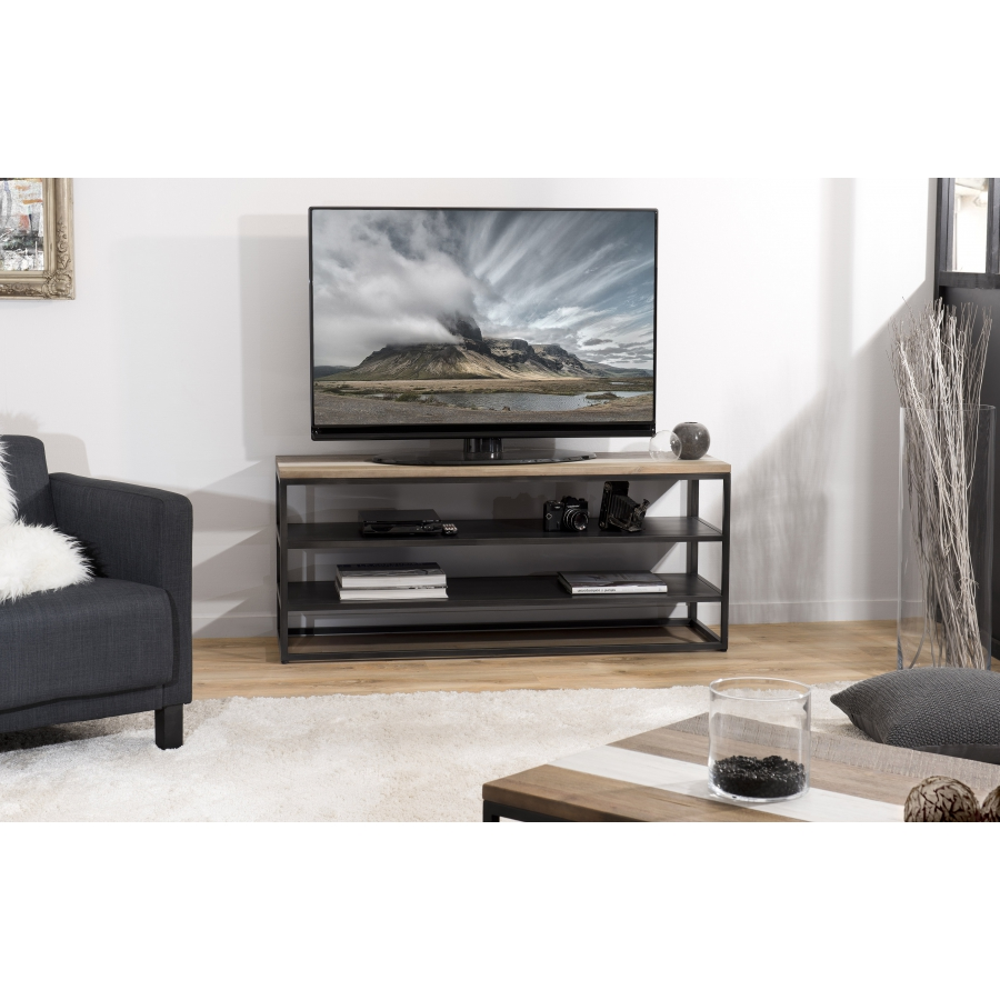 meuble tv bois avec 2 etageres