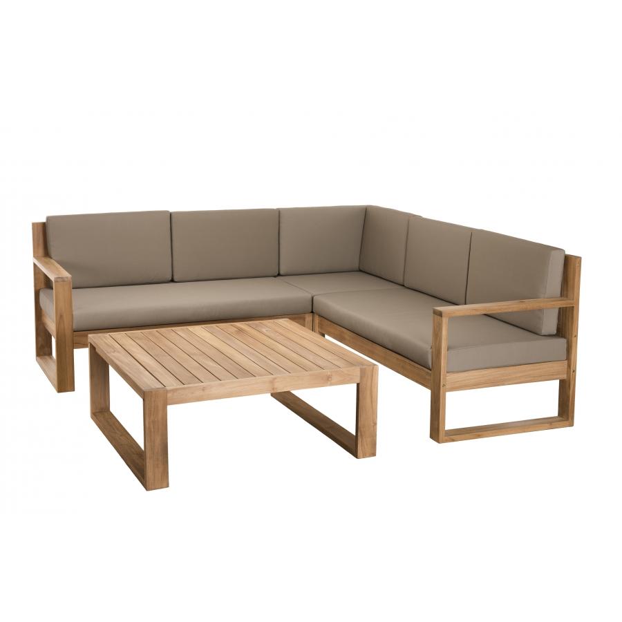 salon de jardin bois acapulco ensemble de 3 fauteuils et 1 table basse