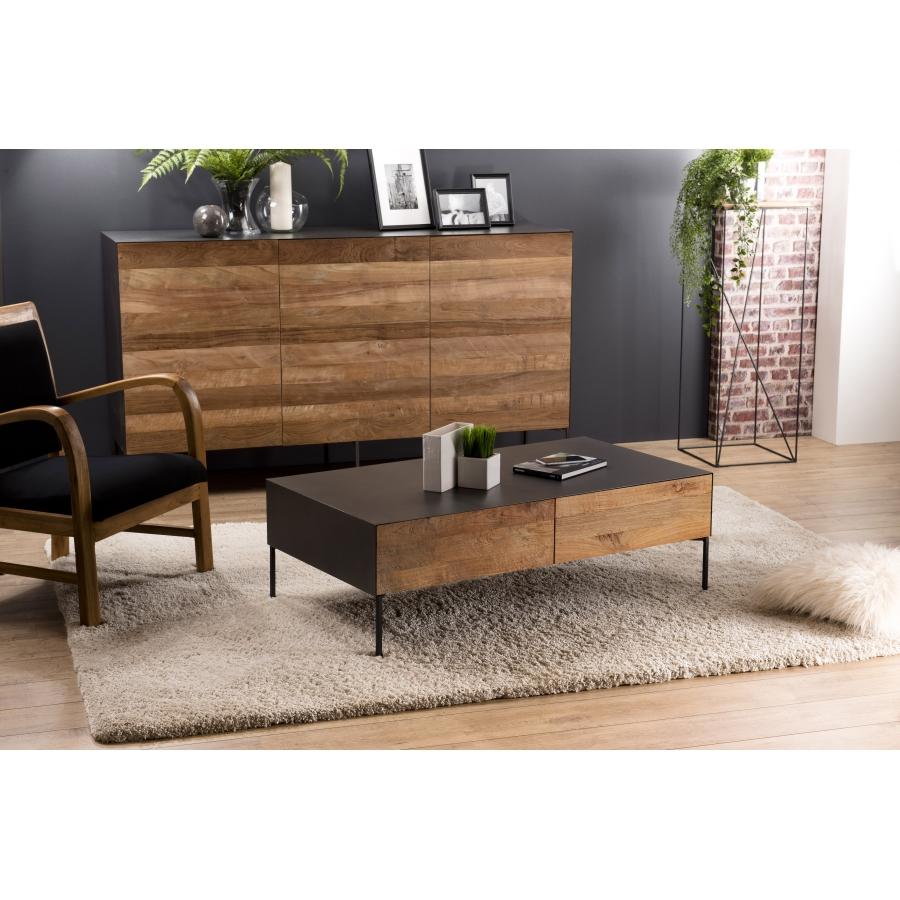 table basse bois 111x60cm 2 tiroirs teck recycle metal et pieds metal