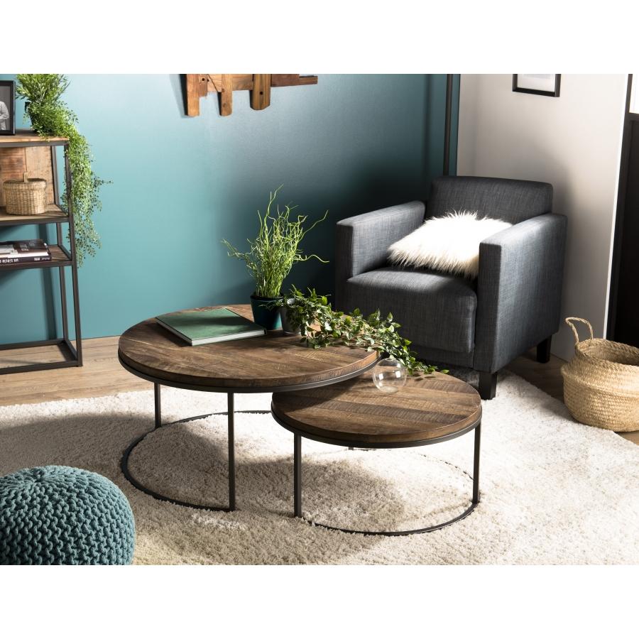 set de 2 tables basse gigogne bois rondes teck recycle acacia mahogany et metal