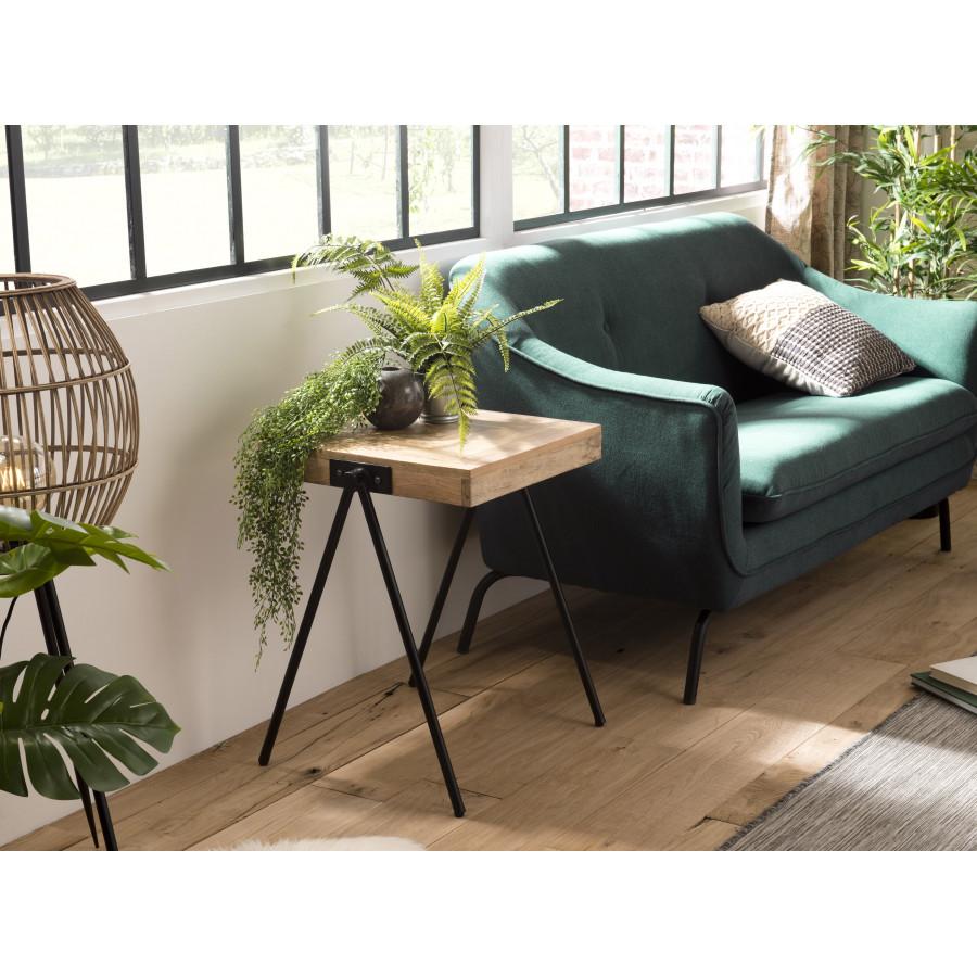 table d appoint bois carree manguier pieds metal compas