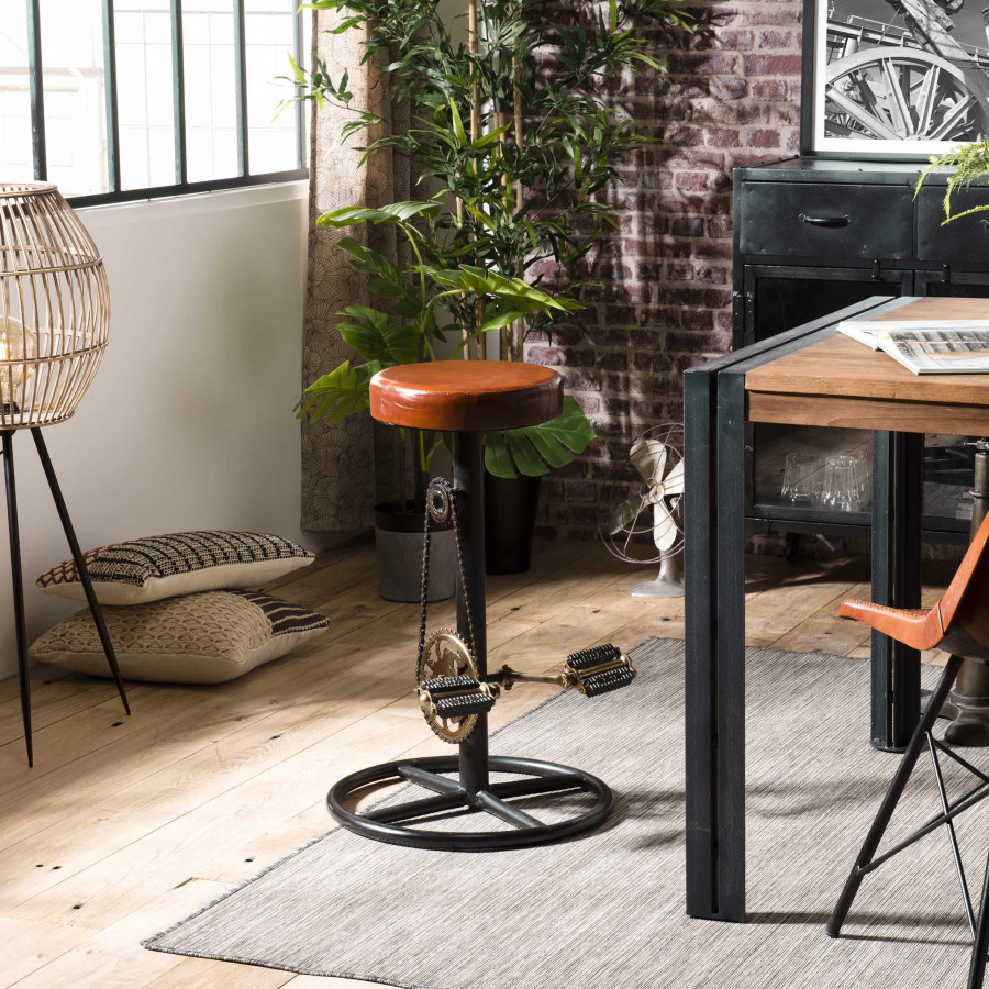 tabouret de bar industriel cuir pieds metal deco pedales