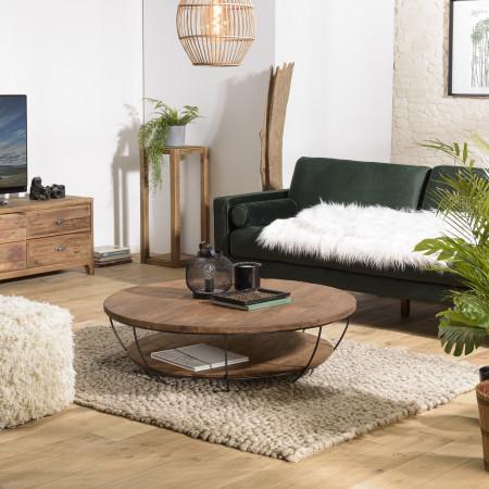 table basse coque noire double plateau 120x120cm bois teck recycle