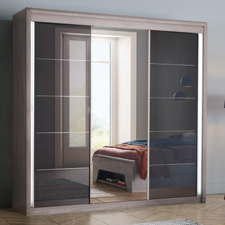 armoire 3 portes coulissantes chene argente multy