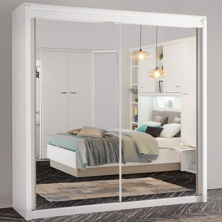 armoire 2 portes coulissantes miroirs blanc neige multy