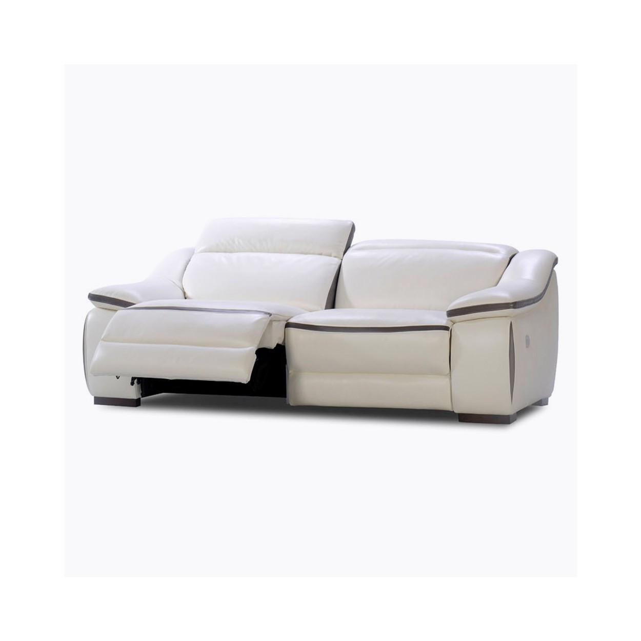 canape 3 places cuir blanc relax manuel elmore
