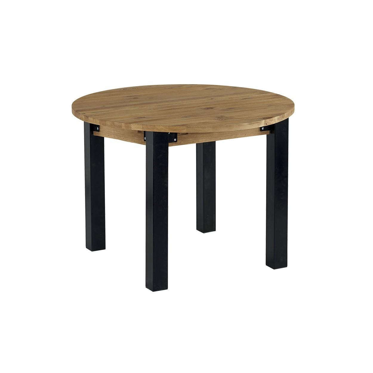 table ronde avec allonge pin brosse lugano