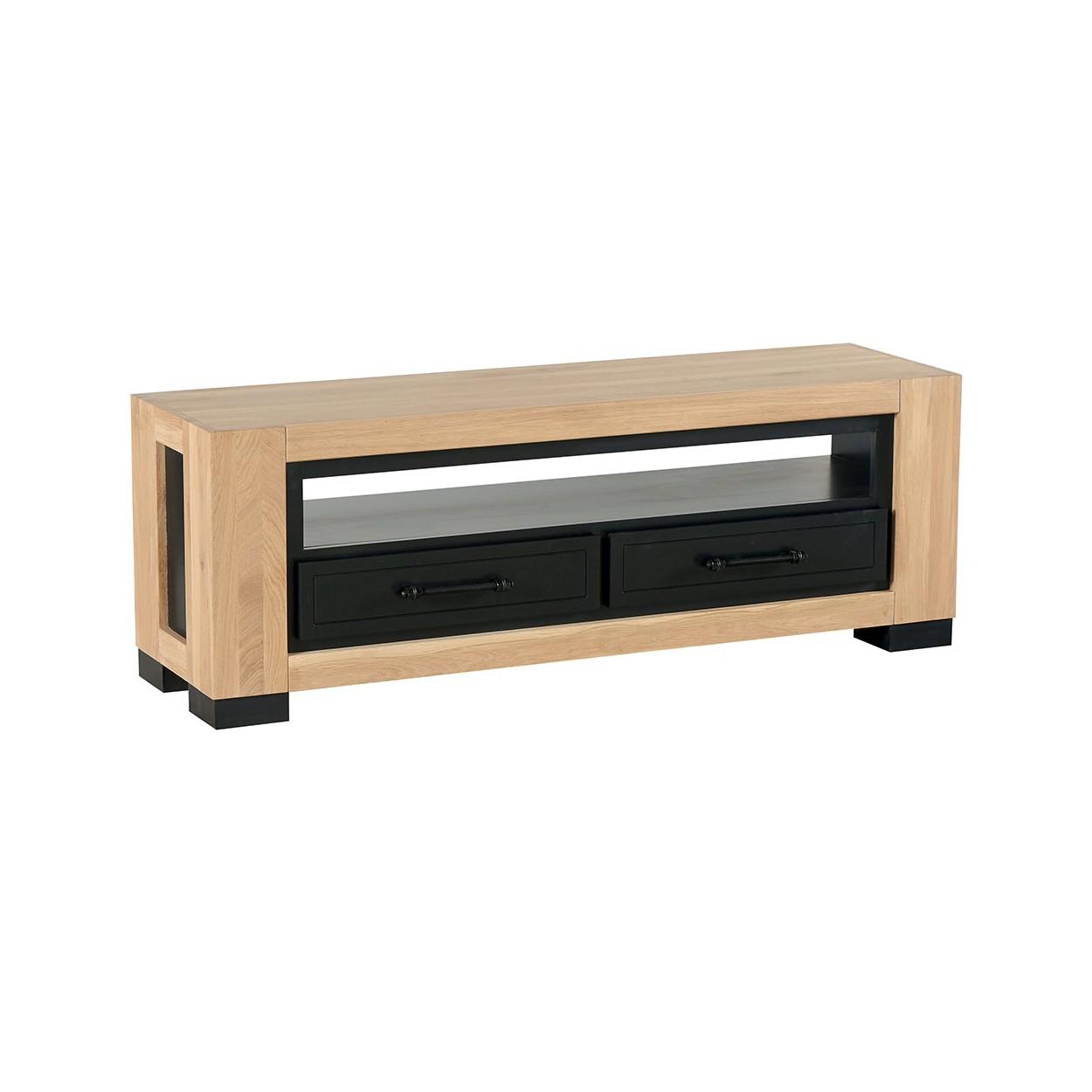meuble tv 140cm 2 tiroirs chene huile cleveland