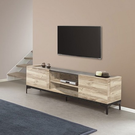 meuble tv 170 cm en melamine chene grosso