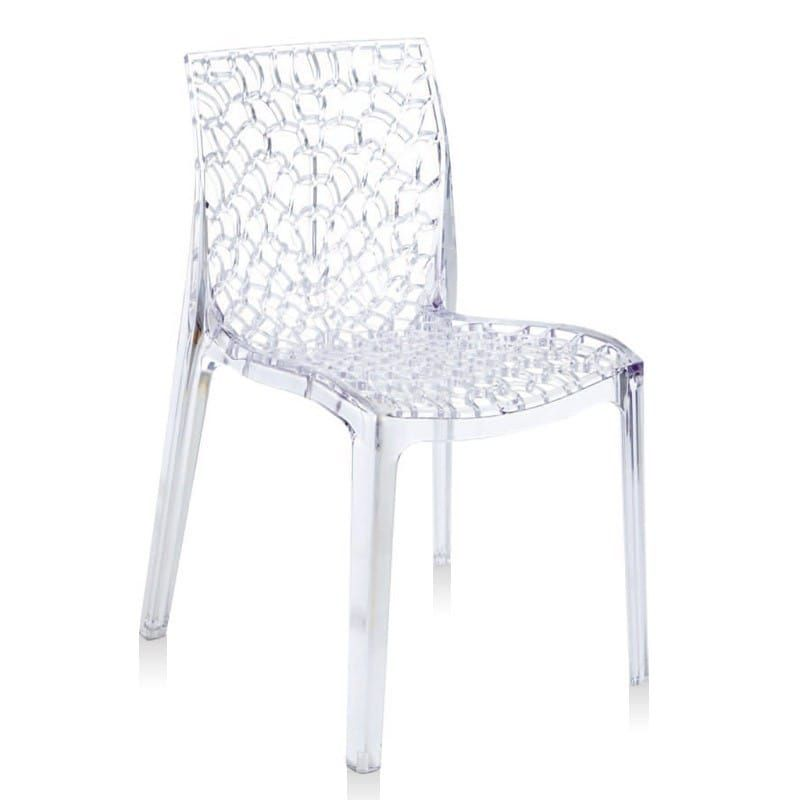 chaise gruvyer design polycarbonate transparent cristal