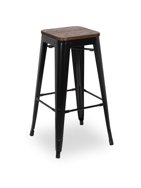 tabouret de bar metal noir et bois olivier