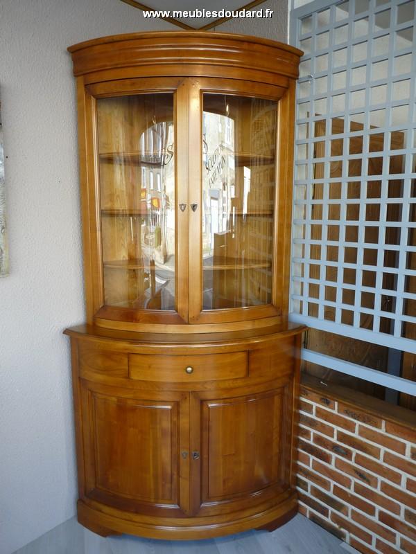 meuble d angle vitree en merisier ref 057t